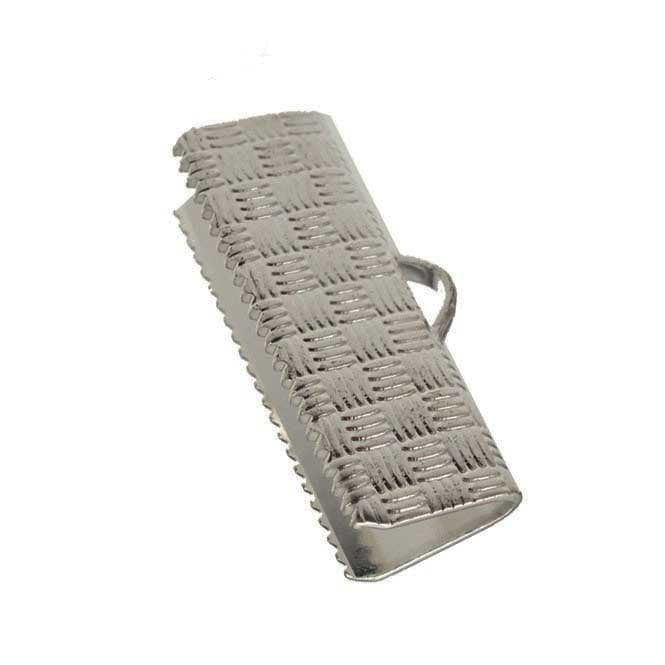 20mm Ribbon Clamps Cord End Crimps - Silver Plated - 20pk