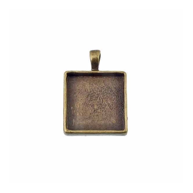 20mm Square Cameo Mount - Antique Brass Plated