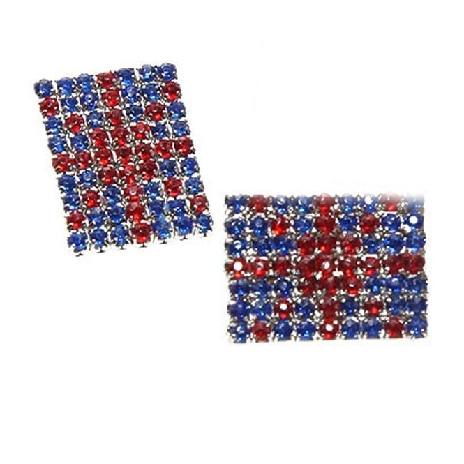 20mm Union Jack Diamante Button - Silver - 1pk