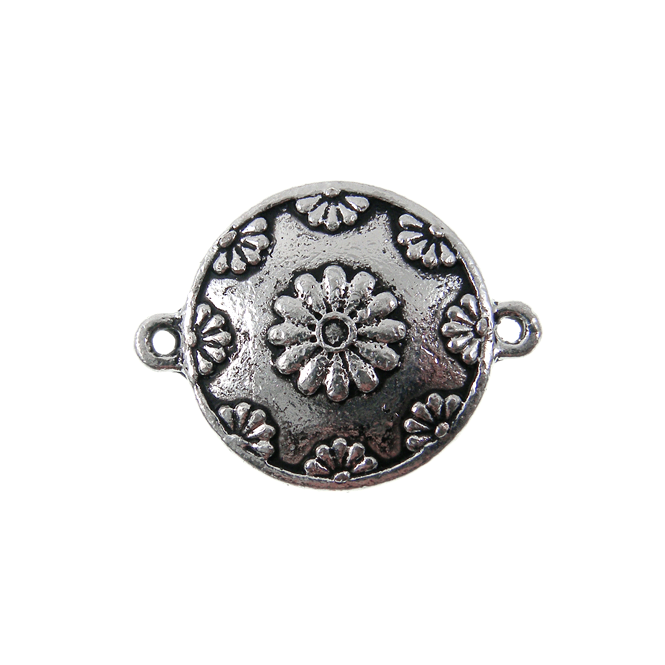 21mm Flower Disc Connector - Silver Plated