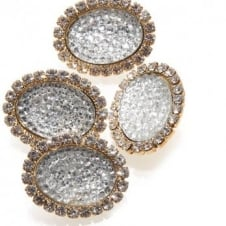 23mm Crystal Diamante Oval Button - Gold - 1pk
