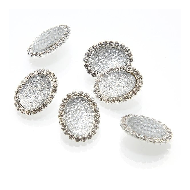 23mm Crystal Diamante Oval Button - Silver - 1pk