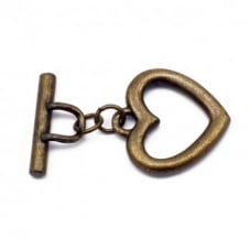 23mm Large Heart Toggle - Antique Brass Plated