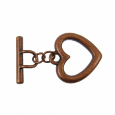23mm Large Heart Toggle - Antique Copper Plated