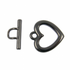23mm Large Heart Toggle - Black Plated