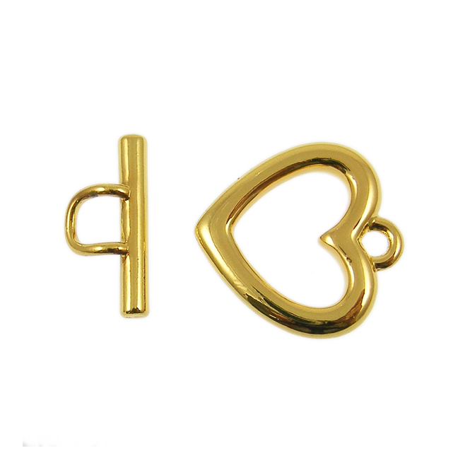 23mm Large Heart Toggle - Gold Plated
