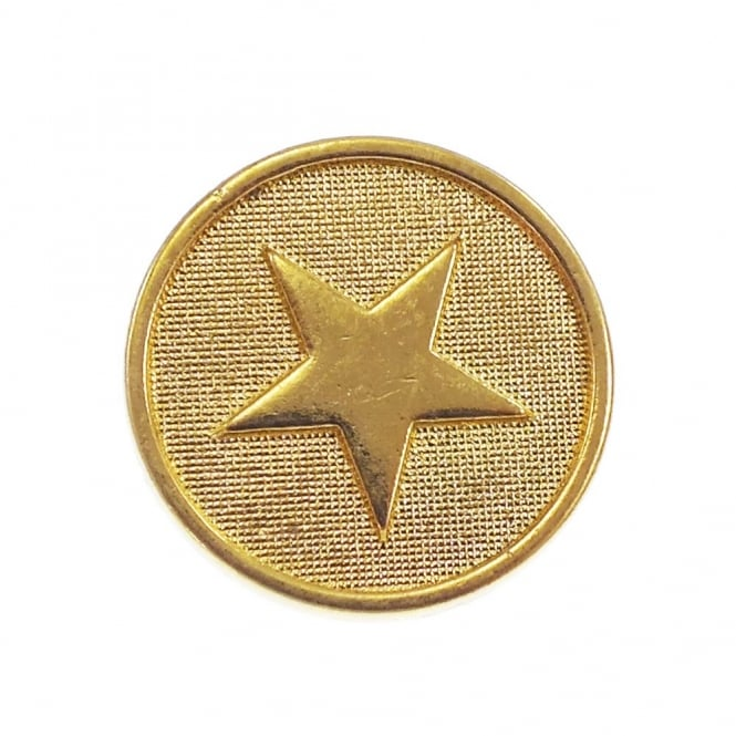 23mm Metal Military Star Button - Gold - 1 pk
