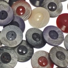 23mm Plastic Dimple 2 Hole Buttons - Mix Colours - 10pk