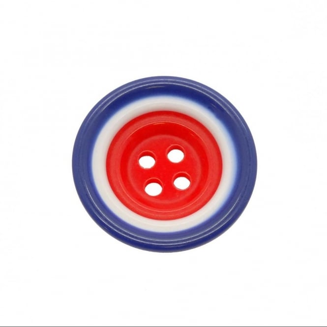 23mm Plastic Red, White & Blue Round Button - 5pk