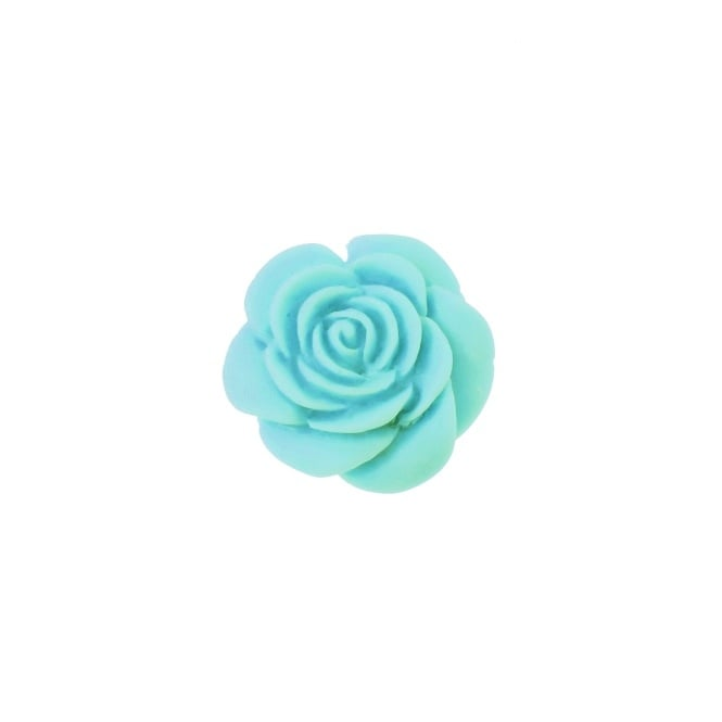 23mm Resin Flat Back Rose - Aqua - 5pk
