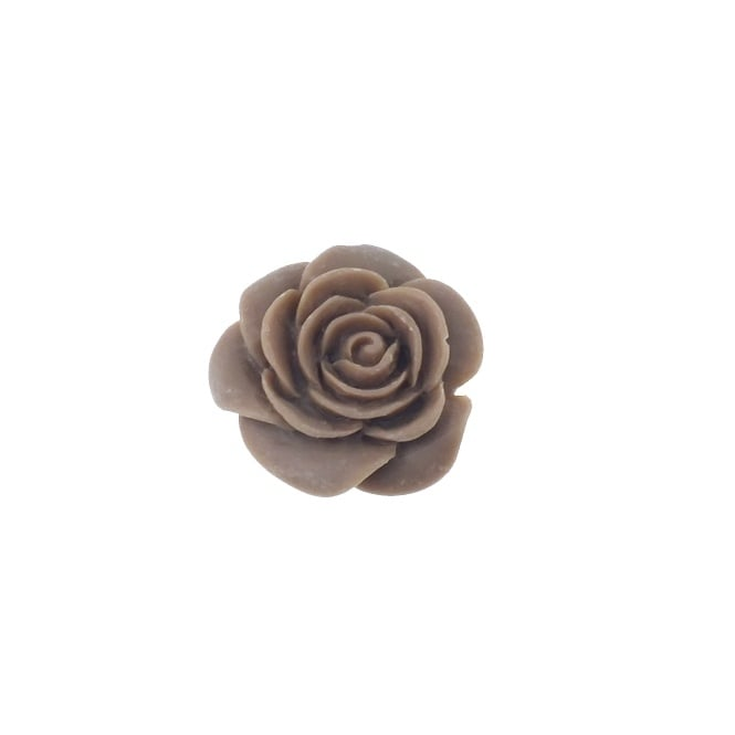 23mm Resin Flat Back Rose - Brown - 5pk