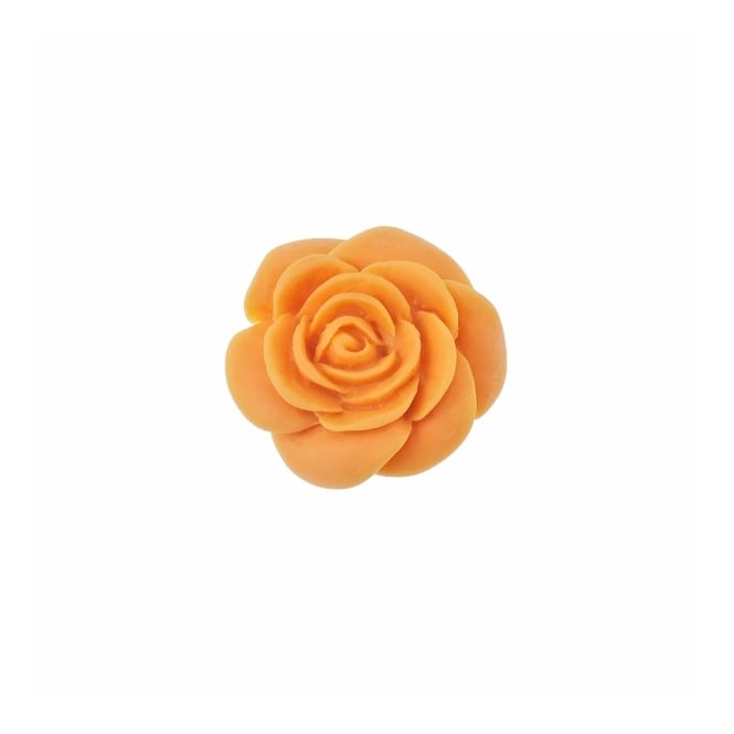 23mm Resin Flat Back Rose - Orange - 5pk