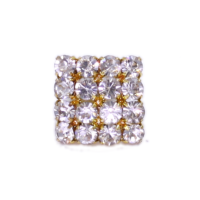 23mm Square Diamante Button - Gold - 1pk