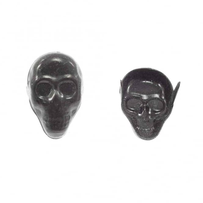 24mm Metal Skull Studs - Black - 10pk