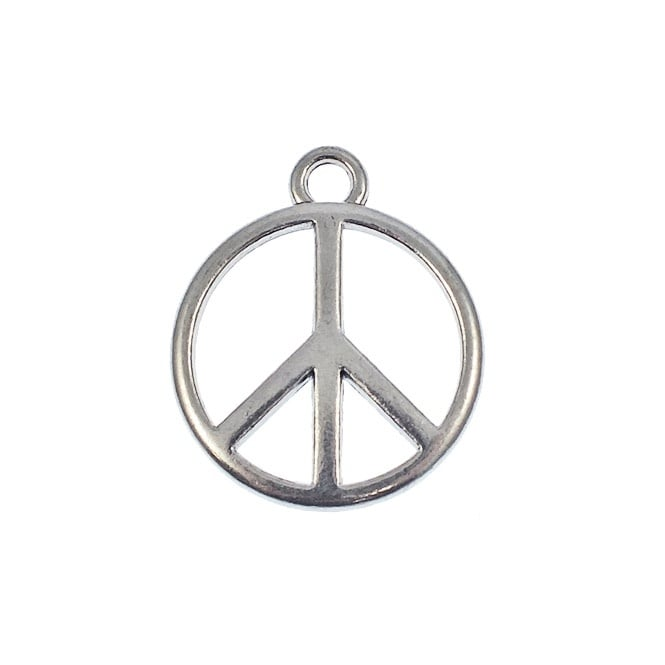 24mm Peace Sign Charm - Silver Plated - 5pk