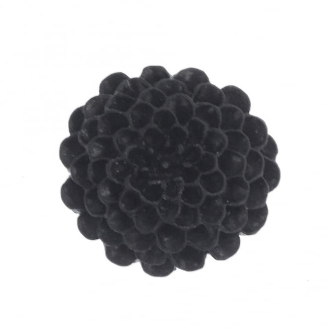 24mm Resin Flat Back Flower - Black - 5pk