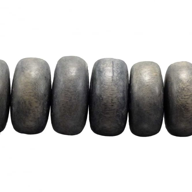 24x11mm Philippine Wood Rondelle Beads - Grey - 17 Beads