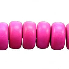 24x11mm Philippine Wood Rondelle Beads - Hot Pink - 17 Beads