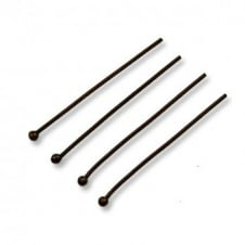 25mm Ball End (1.5mm) Headpin Findings - Black Plated - 100pk