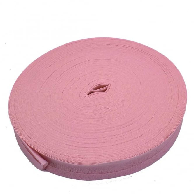 25mm Bias Binding Tape 100% Cotton - Baby Pink - 1 metre