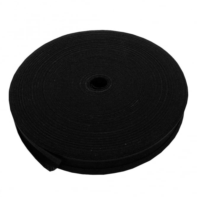 25mm Bias Binding Tape 100% Cotton - Black - 1 metre