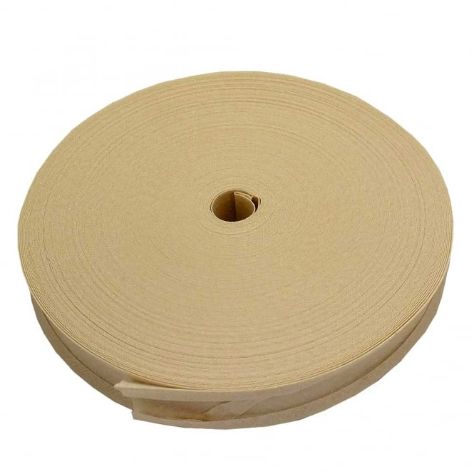 25mm Bias Binding Tape 100% Cotton - Ivory - 1 metre