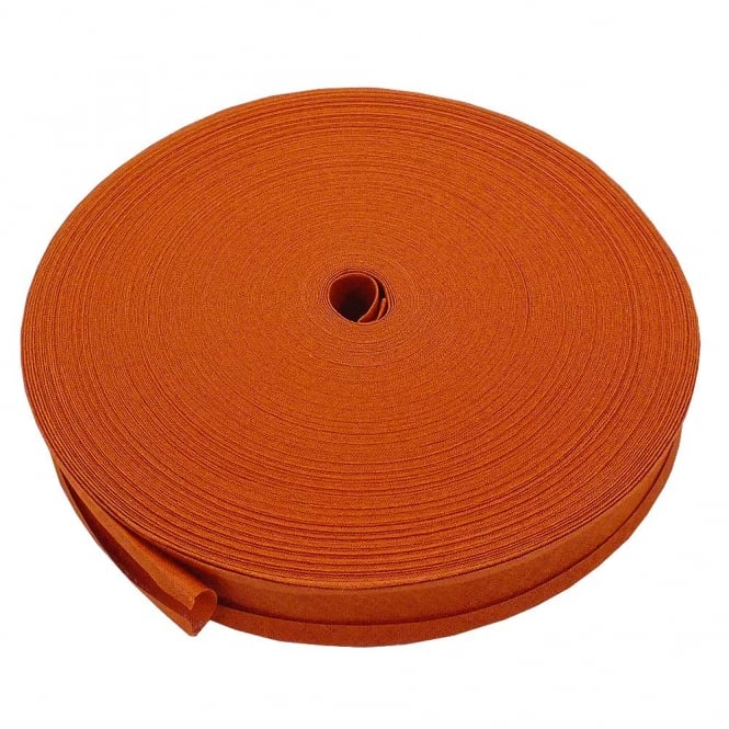 25mm Bias Binding Tape 100% Cotton - Rust - 1m, 5m or 50m