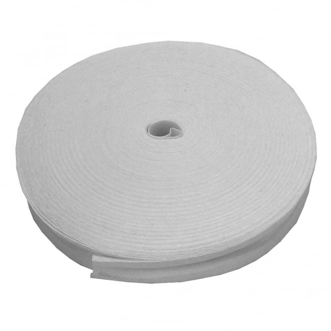 25mm Bias Binding Tape 100% Cotton - White - 1 metre