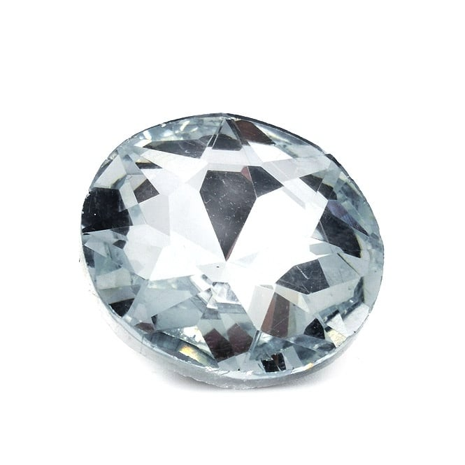 25mm Glass Faceted Button With Shank - Crystal - 5pk