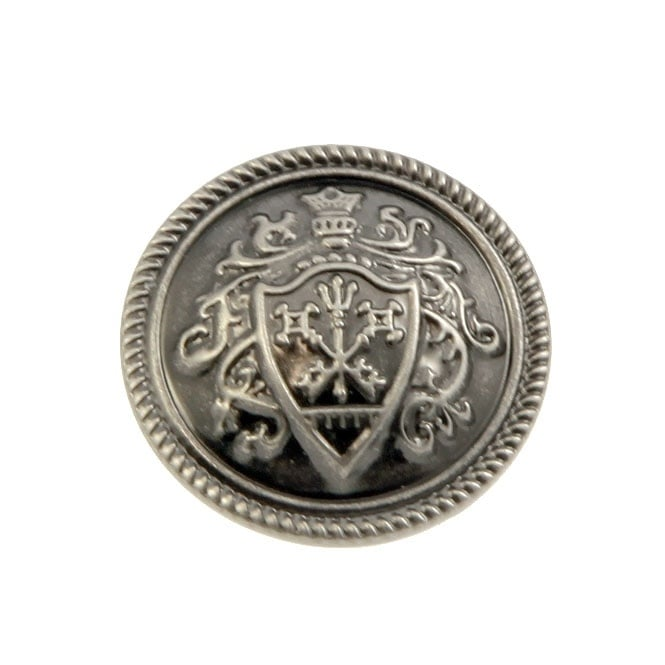 25mm Metal Military Coat Of Arms Button - Antique Silver Plated - 10pk