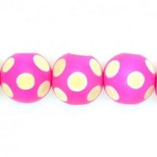 25mm Polka-Dot Round Wooden Beads - Hot Pink - 16pk
