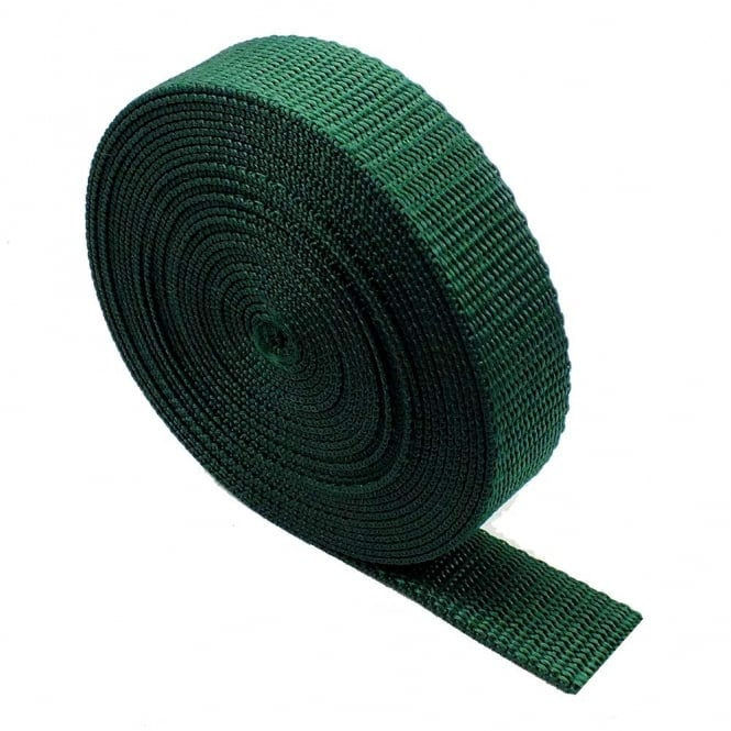 25mm Polypropylene Webbing Strap - Bottle Green - 1 metre