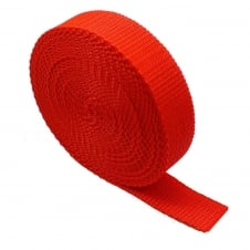 25mm Polypropylene Webbing Strap - Red - 1 metre