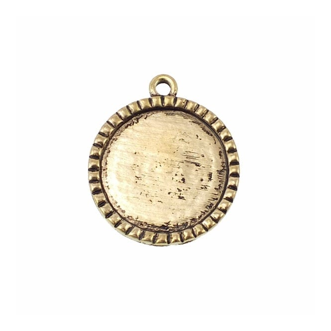 25mm Round Cameo Mount with Ridges - Antique Gold Plated