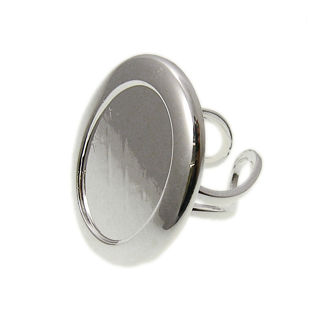 25x18mm Cameo Mount Ring Base - Silver Plated