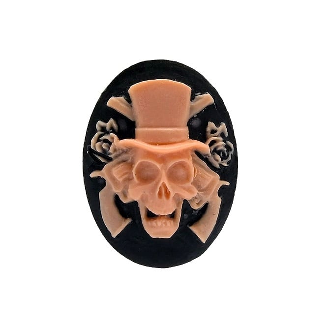 25x18mm Skull and Pistols Cameo - Baby Pink