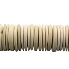 25x4mm Pucalet Coconut Wood Beads - Cream - 60 Beads