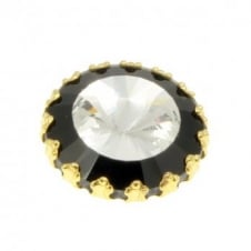 26mm Black & Clear Crystal Diamante Button - Gold - 5pk