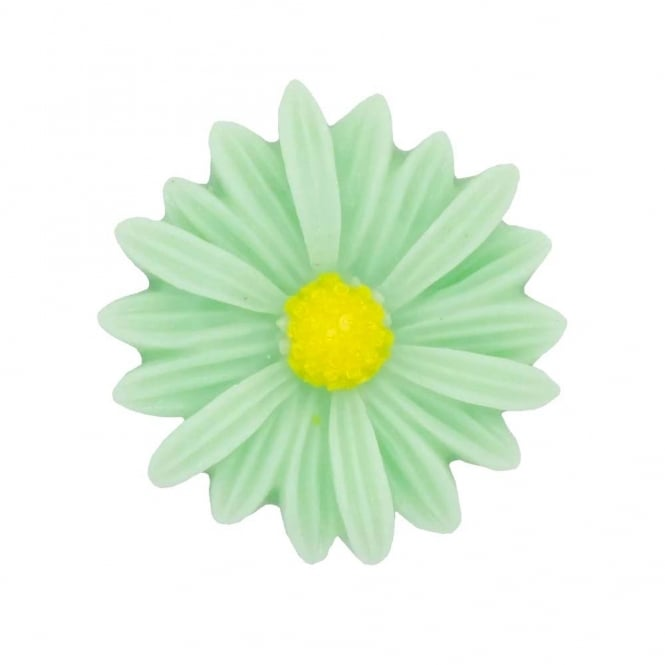 26mm Sunflower Resin Cabochon - Light Green - 5pk