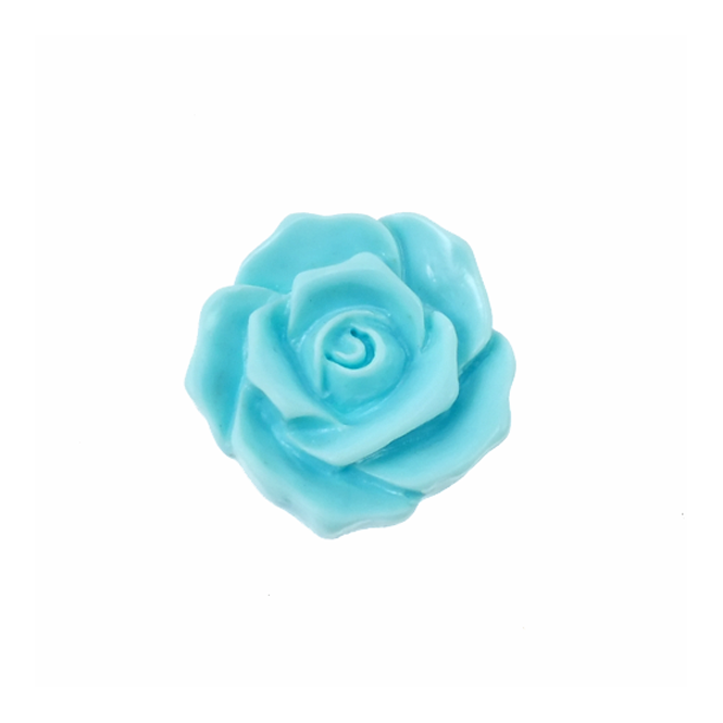 27mm Resin Flat Back Flower - Aqua