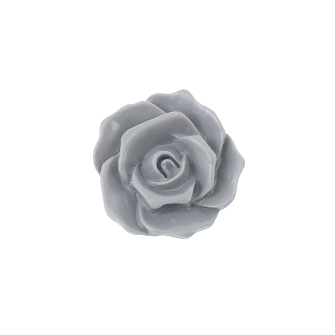 27mm Resin Flat Back Flower - Grey