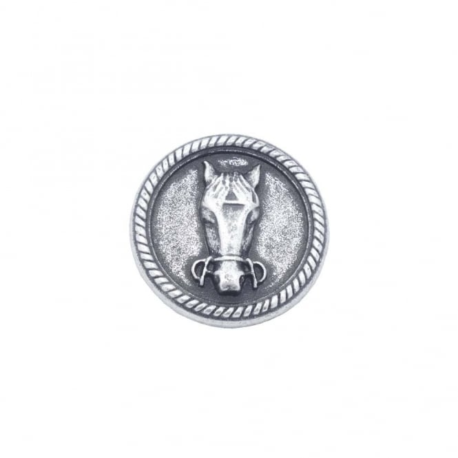 28mm Metal Horse Head Button - Antique Silver Plated - 1pk