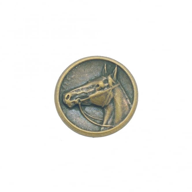 28mm Metal Horse Profile Button - Antique Bronze Plated - 1pk