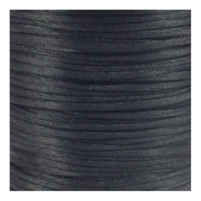 2mm Rattail Satin Cord - Black - 5m