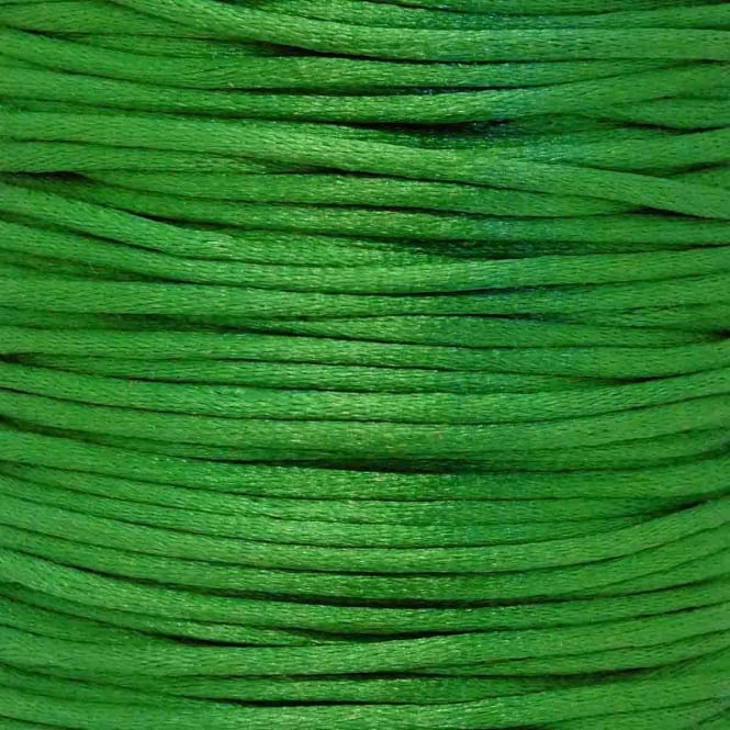 2mm Rattail Satin Cord - Green - 5m