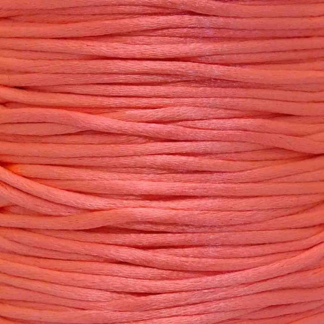 2mm Rattail Satin Cord - Pink Coral - 5m
