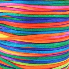 2mm Rattail Satin Cord - Rainbow - 5m