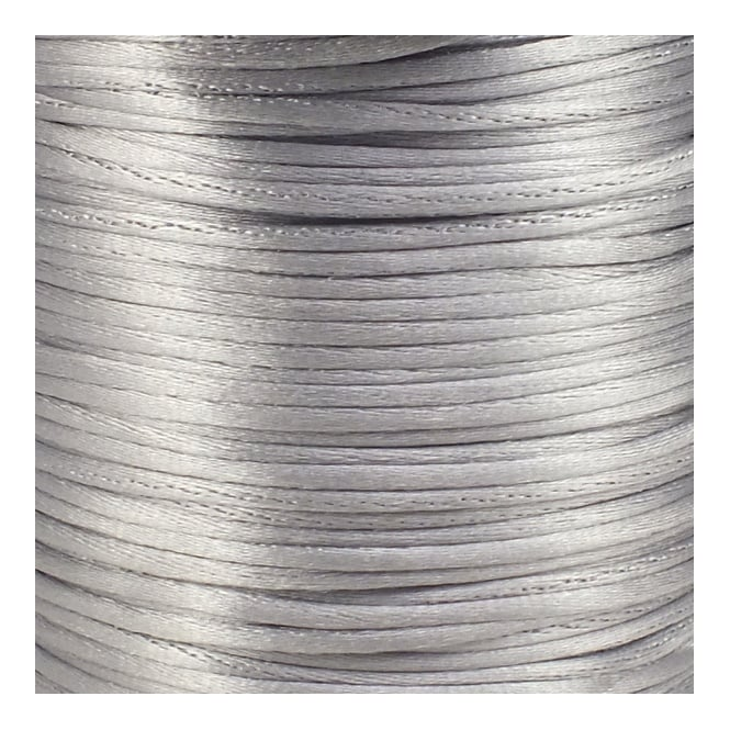 2mm Rattail Satin Cord - Silver - 5m