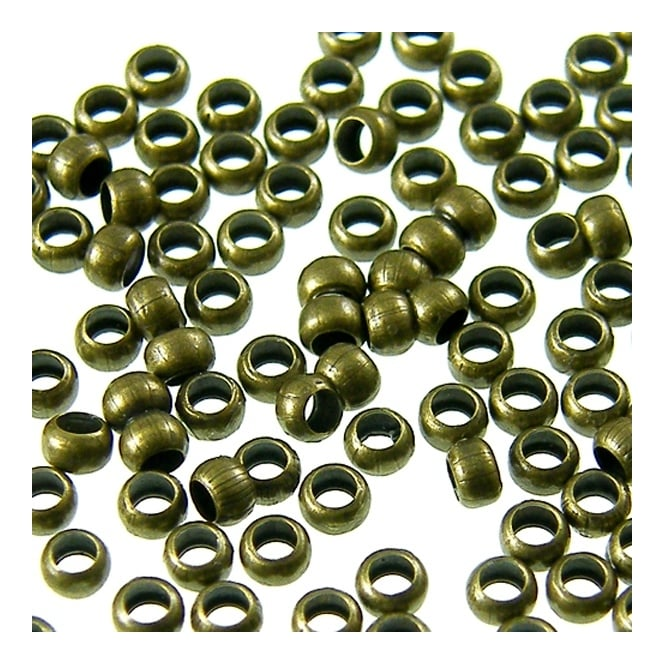 2mm Round Crimp Beads - Antique Brass Plated - 200pk