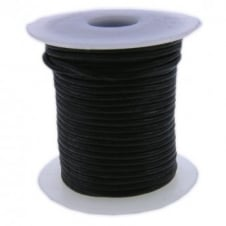 2mm Round Leather Cord - Black - 5m